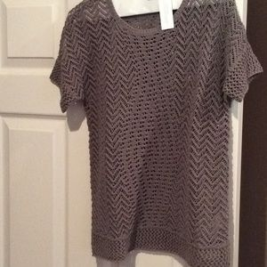 Chicos olive green pullover sweater, holes…